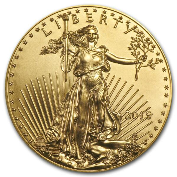 1 unze American Eagle Goldmünze - Münztube 10 - 2015 - US Mint