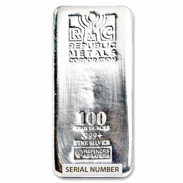 100 unzen  Silberbarren - Republic Metals Corporation