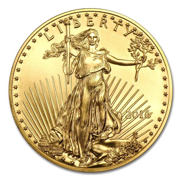 1 unze American Eagle Goldmünze - Münztube 10 - 2016 - US Mint